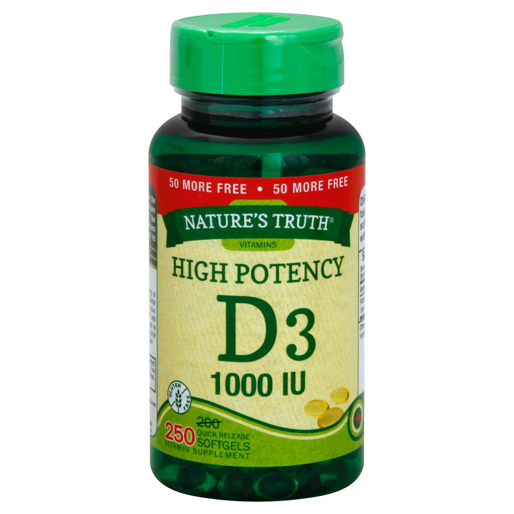 Natures Truth Vitamin D3, High Potency, 1000 IU, Quick Release Softgels - 250 softgels