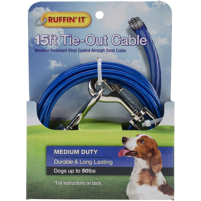 American Leather Dog Tie Out Cable - Blue, 15'