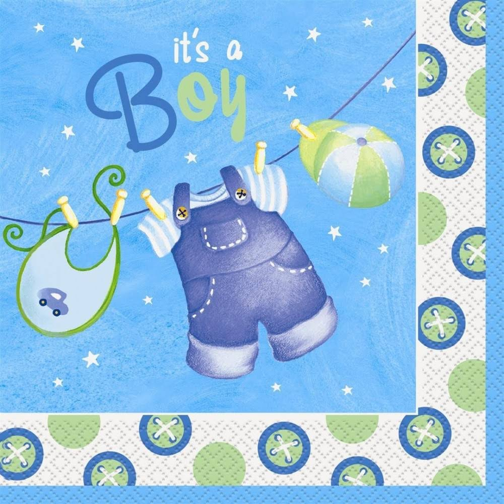 Clothesline Baby Shower Napkins - 16 Pack, Blue