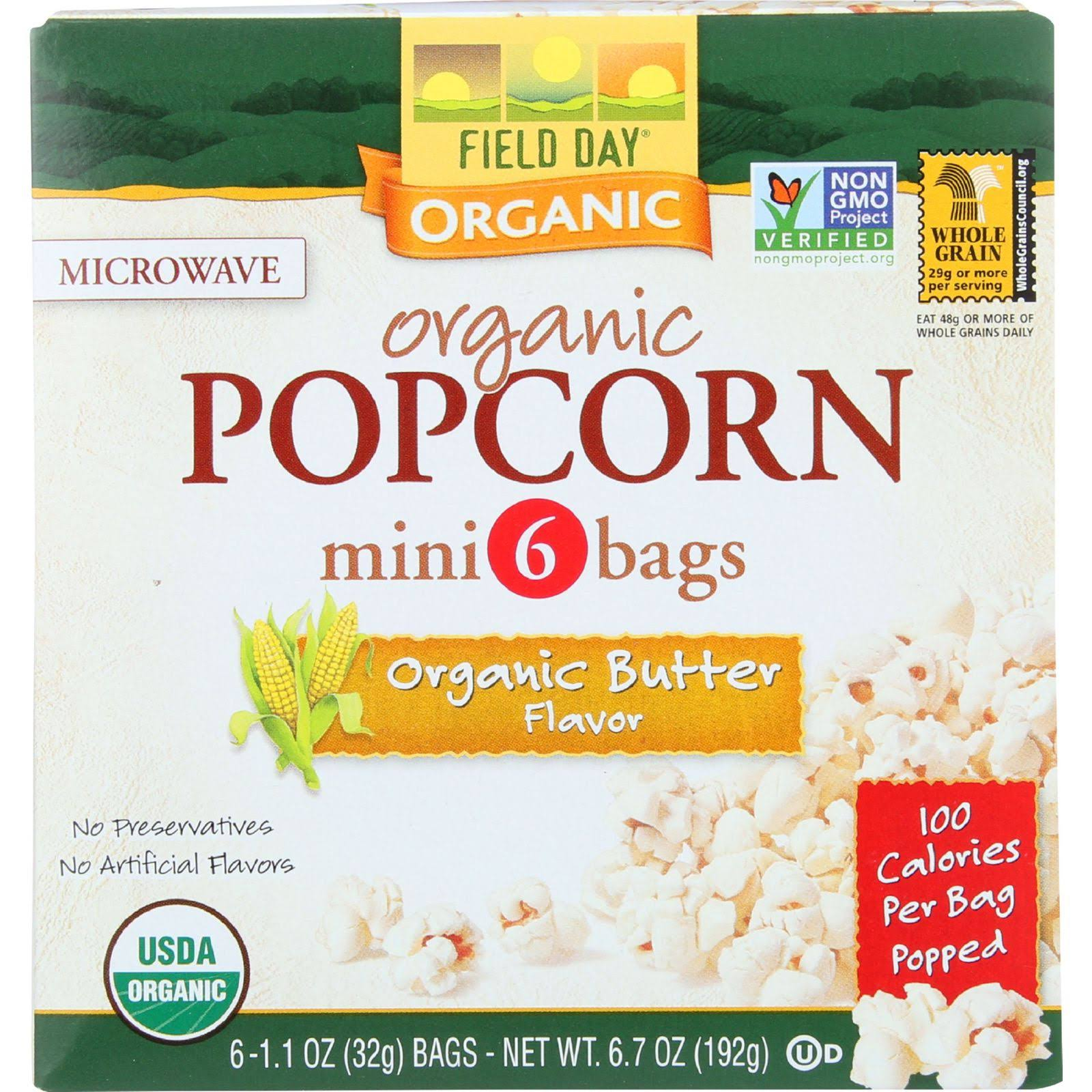 Field Day Microwave Popcorn, Organic Butter - 6 pack, 6.7 oz box