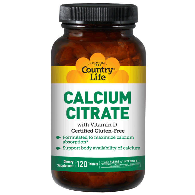 Country Life Calcium Citrate Supplement - with Vitamin D, 120 Tablets