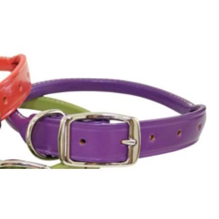 Auburn Leather Rolled Round Dog Collar -Purple 18 inch-22 inch