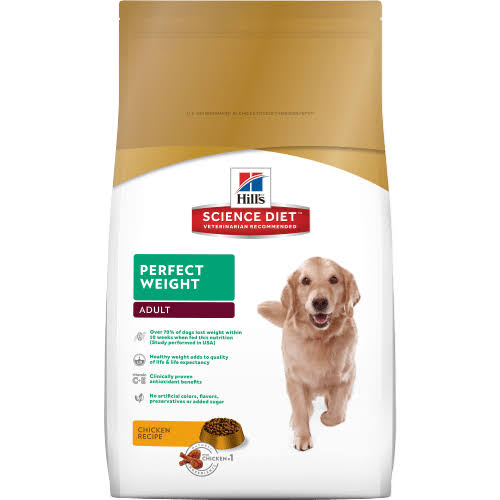 Hill's Science Diet Perfect Weight Adult Premium Natural Dog Food - Chicken Recipe, 15lbs