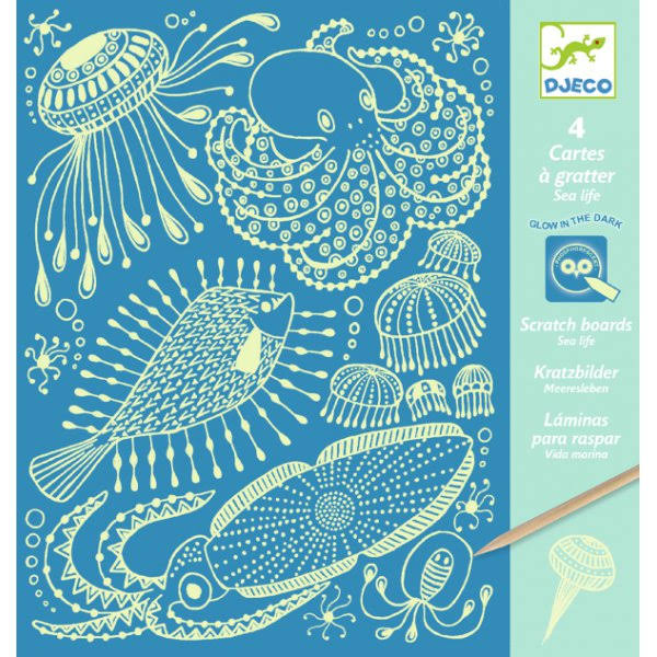 Djeco Glow in the Dark Scratch Art Cards - Sea Life