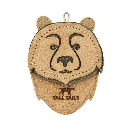 Tall Tails 88217023 CC Leather Bear Dog Toy Natural - 4 in.