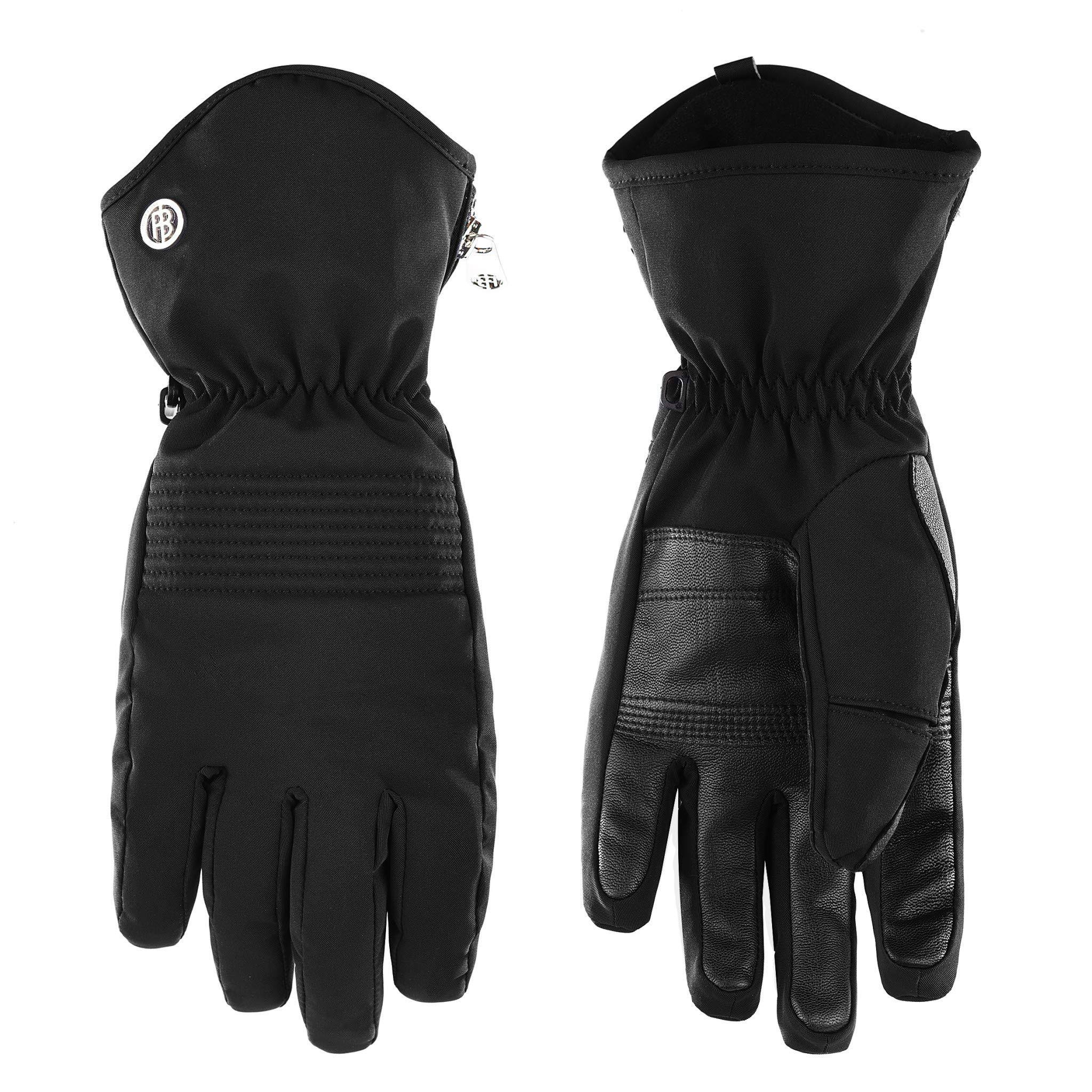 Poivre Blanc Women's Stretch Ski Gloves - M, Black