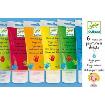 Djeco DJ08860 Finger Paint Tubes Novelty - 6ct