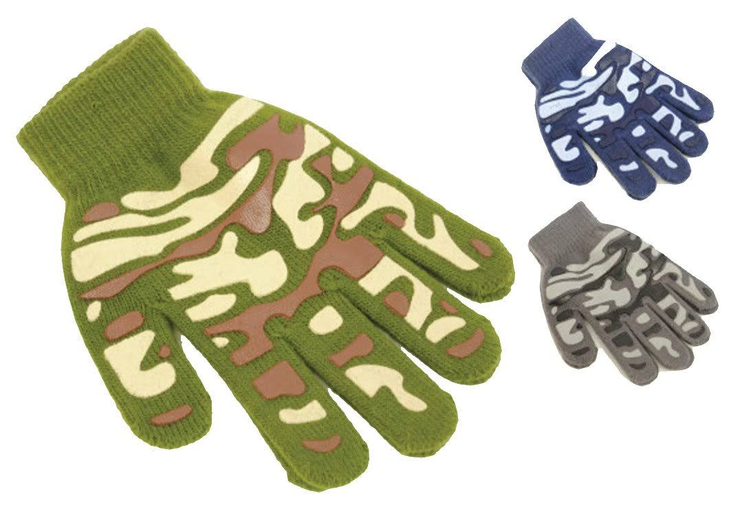RJM 3 Pairs Boys Camouflage Pattern Winter Gripper Gloves