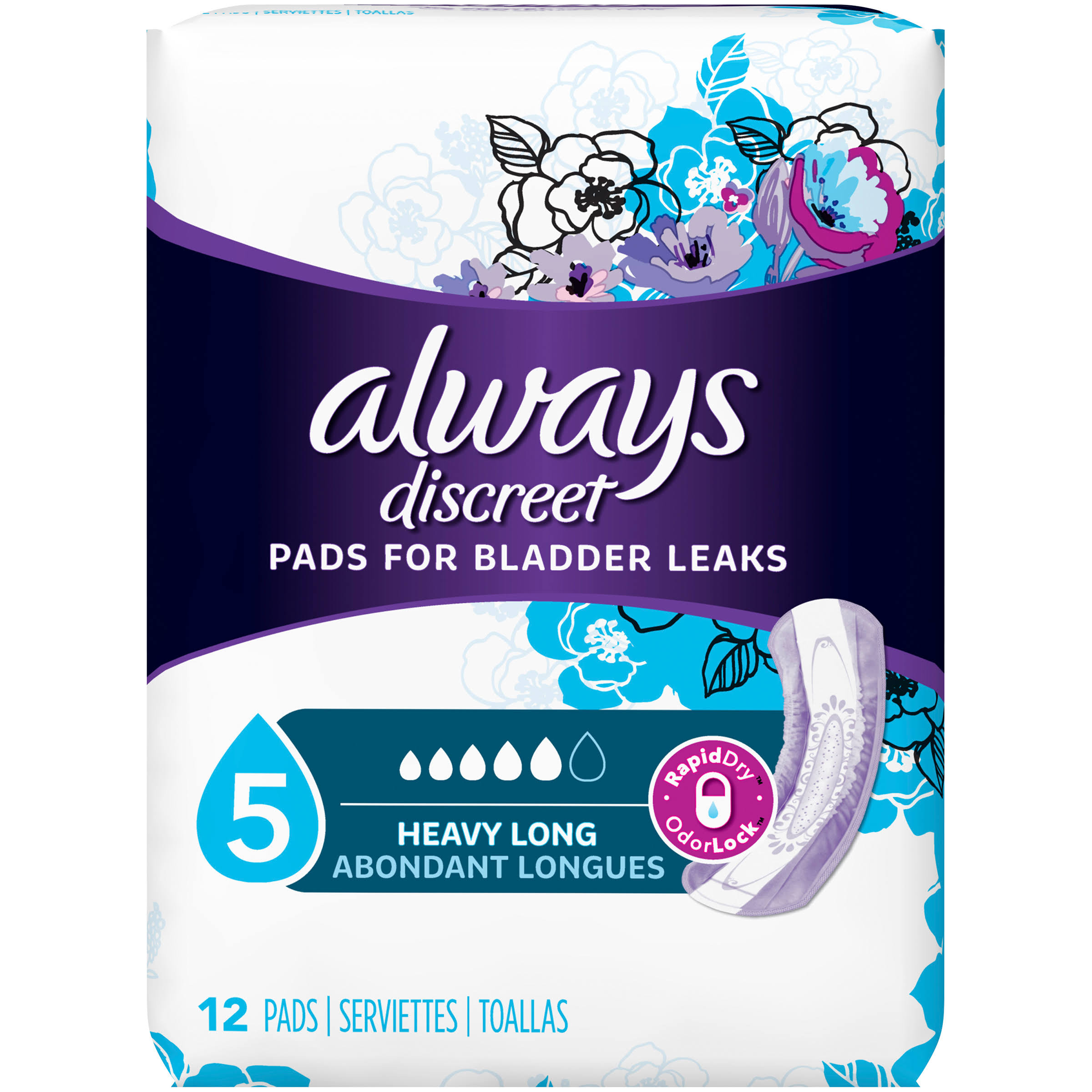Always Discreet Maximum Long Length Pads - 12 Pack