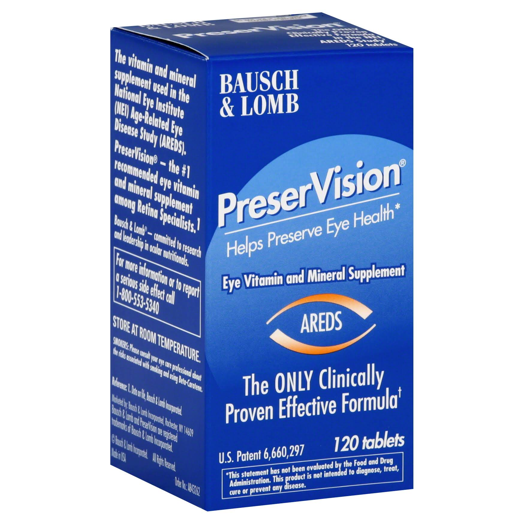 Bausch and Lomb PreserVision Eye Vitamin - 120 Tablets