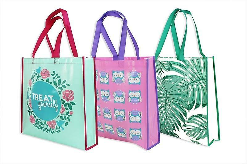 Royle Shopping Bag Reusable Handle Strong Trendy Pack of 3 Colourful