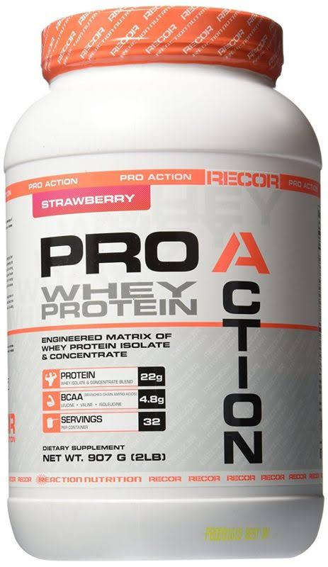 Reaction Nutrition Pro Action Whey Protein - Strawberry - 2 Lb(S).