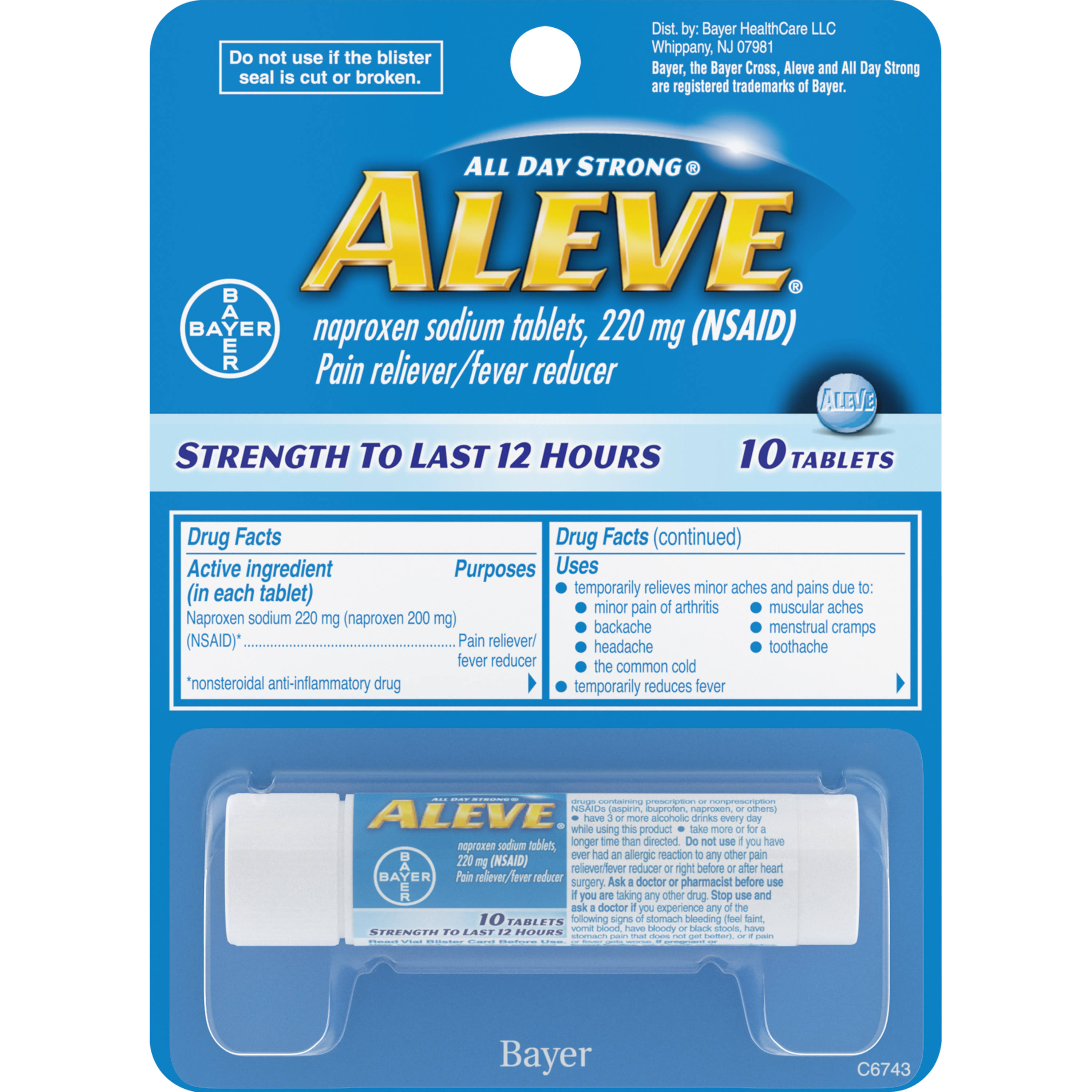 Bayer Aleve All Day Strong Naproxen Sodium Tablets - 220mg, 10pk