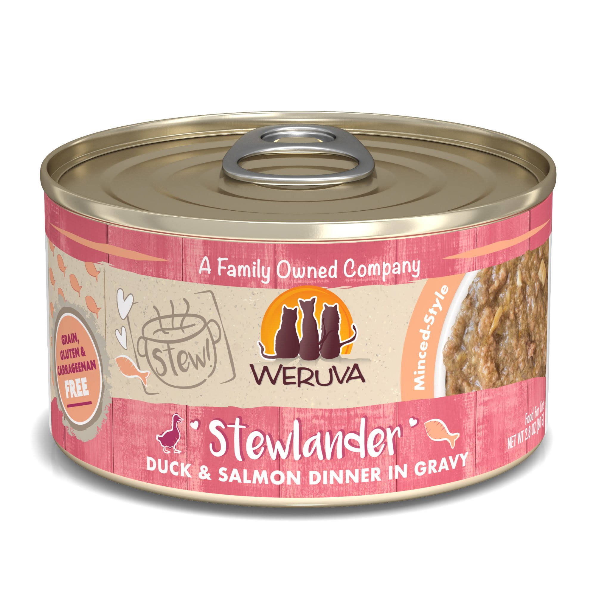 Weruva Stew! Stewlander Duck & Salmon Dinner in Gravy Food for Cats - 2.8 oz