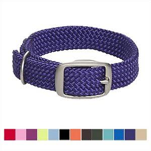 Mendota Products Double Braid Dog Collar, Purple, 21-In