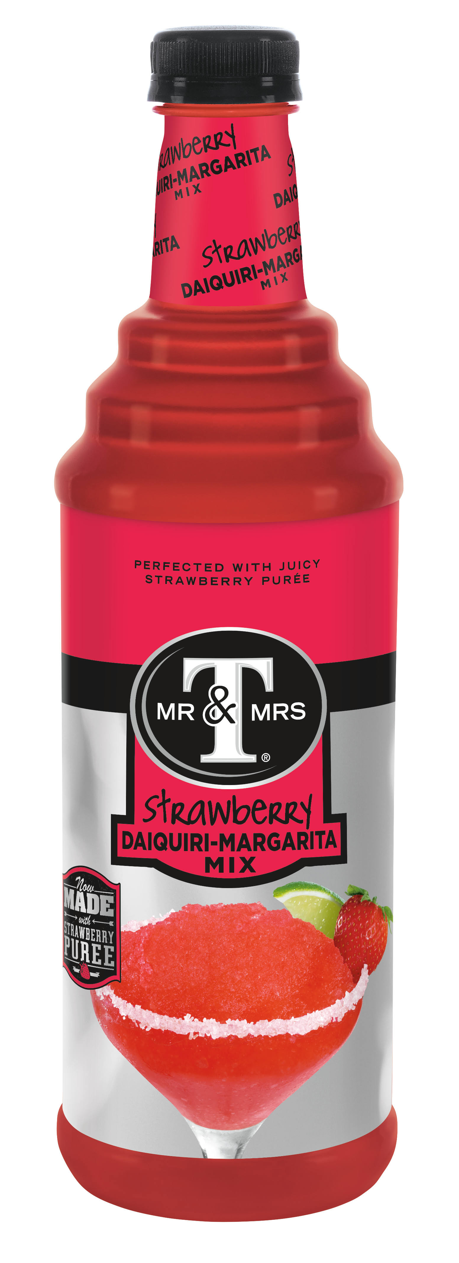 Mr & Mrs T Daiquiri-Margarita Mix, Strawberry - 1 liter 33.8 fl oz (1 qt 1.8 fl oz)