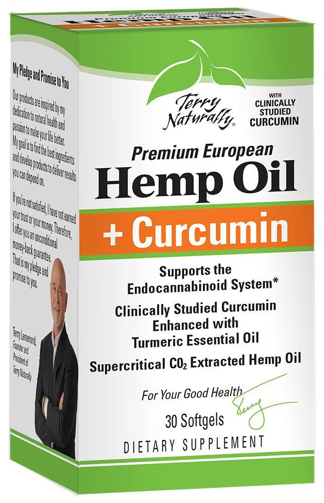 Terry Naturally Hemp Oil + Curcumin, 30 Softgels