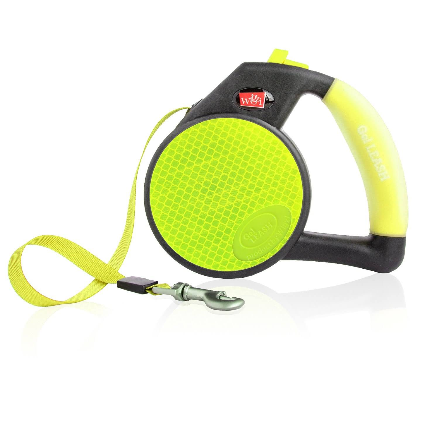 Wigzi Gel Retractable Reflective Yellow Leash for Large Dogs
