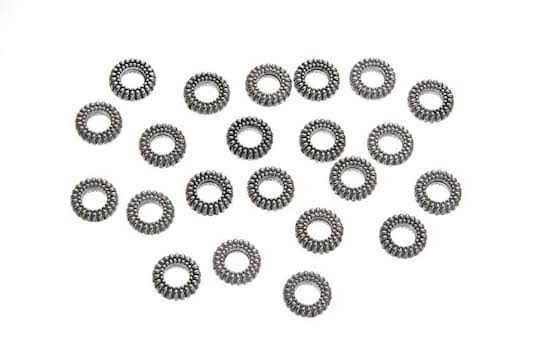 Silver Donut Cast Spacer Beads 8mm 22pc