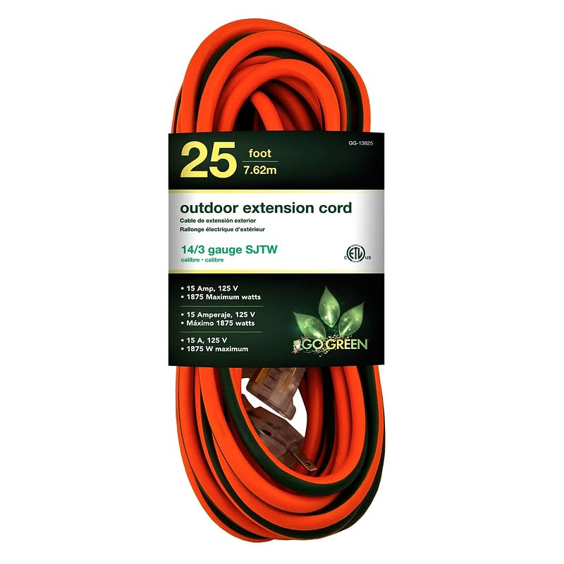 GoGreen Power GG-13825 - 14/3 25' SJTW Outdoor Extension Cord - Lighted End