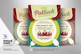 Halloween Potluck Invitation Template Free Printable by Potluck Event Flyer Template Flyer Templates Creative Market