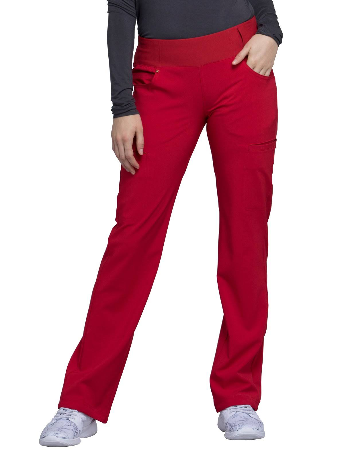 Cherokee CK002 Mid Rise Straight Leg Pull-On Pant - Red - L