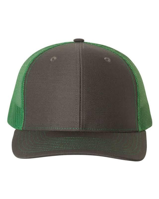 Richardson Adult 112 Twill Mesh Snapback Trucker Caps Grey/Green