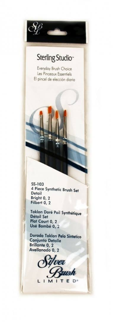 Silver Brush Limited SS103 Sterling Studio Bright/Filbert Brush Set 4pcs