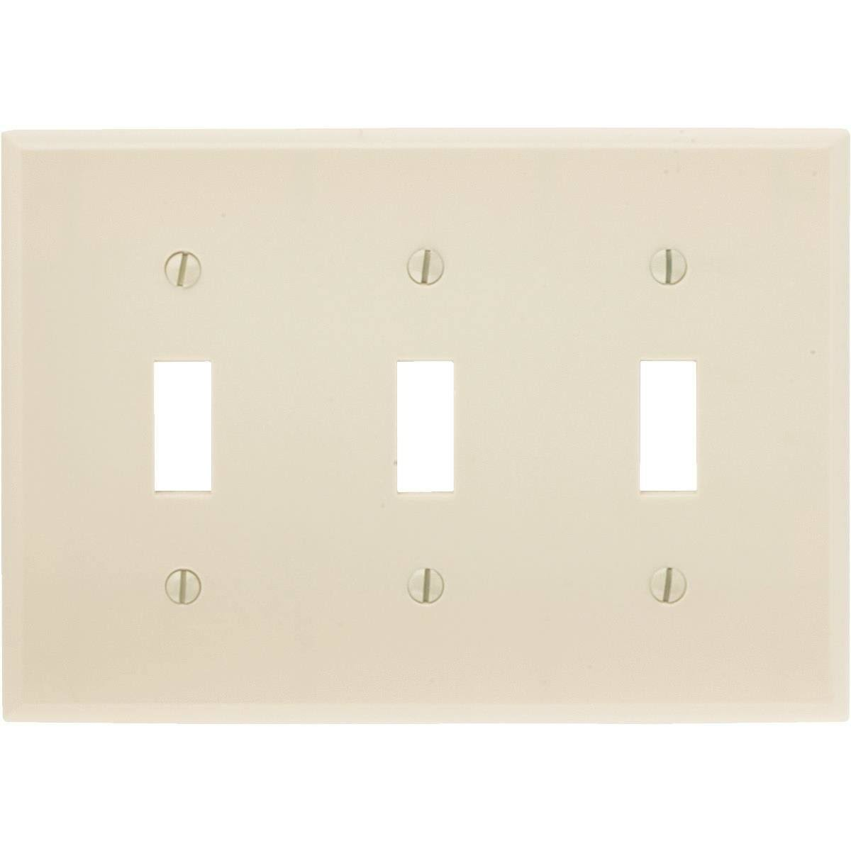 Leviton 3-Gang Thermoset Plastic Toggle Wall Plate - Ivory