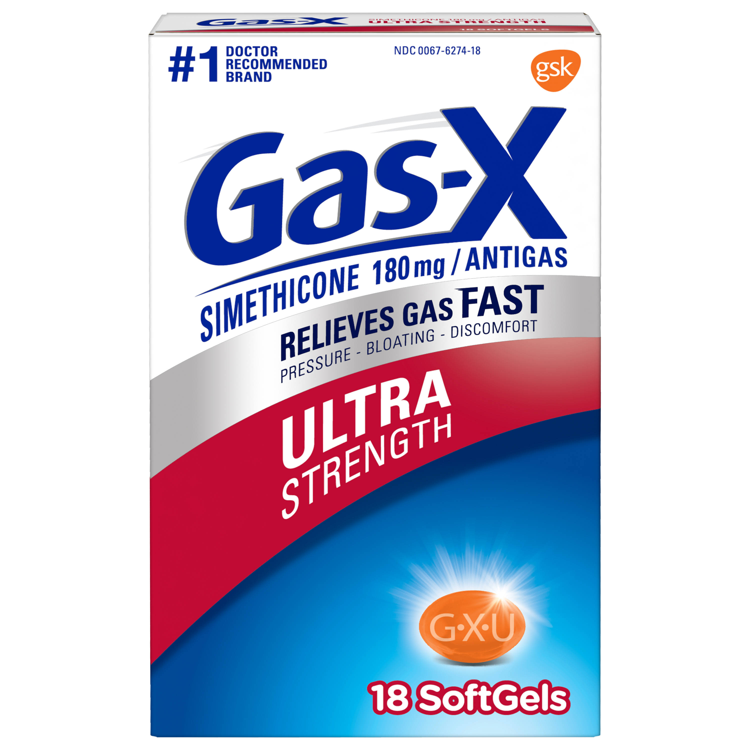 Gsk Gas-X Gas Ultra Strength Simethicone/Antigas Softgels 180 mg - 18 Pack