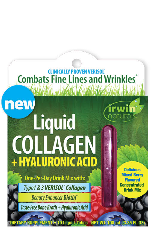 Irwin Naturals Liquid Collagen + Hyaluronic Acid - 10 Liquid Tubes Box