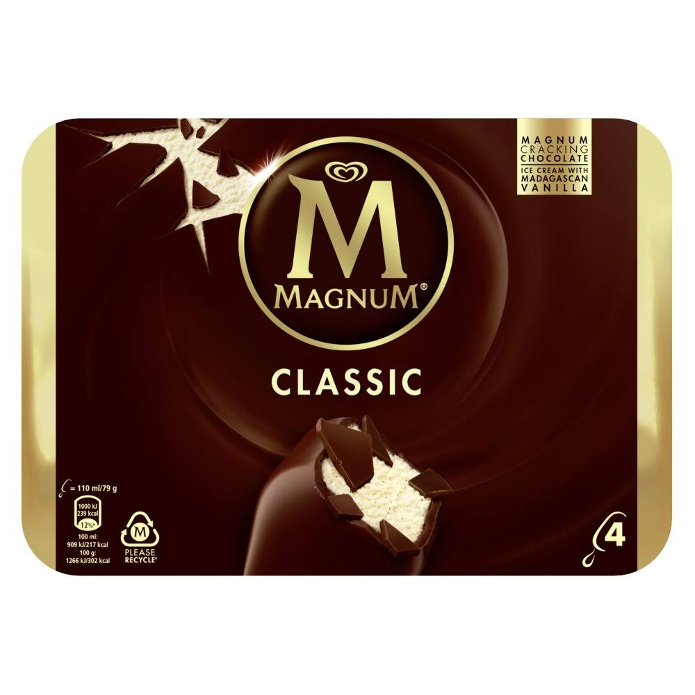 Magnum Classic Ice Cream - 4ct, 110ml