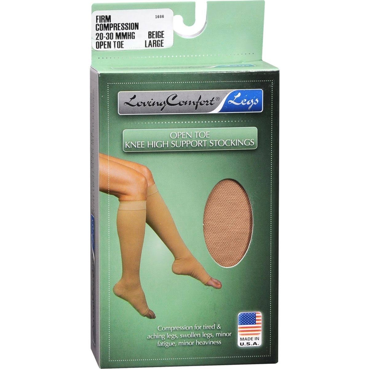 Loving Comfort Legs Fashion Knee High Stockings - 20-30mmhg, Beige, Large