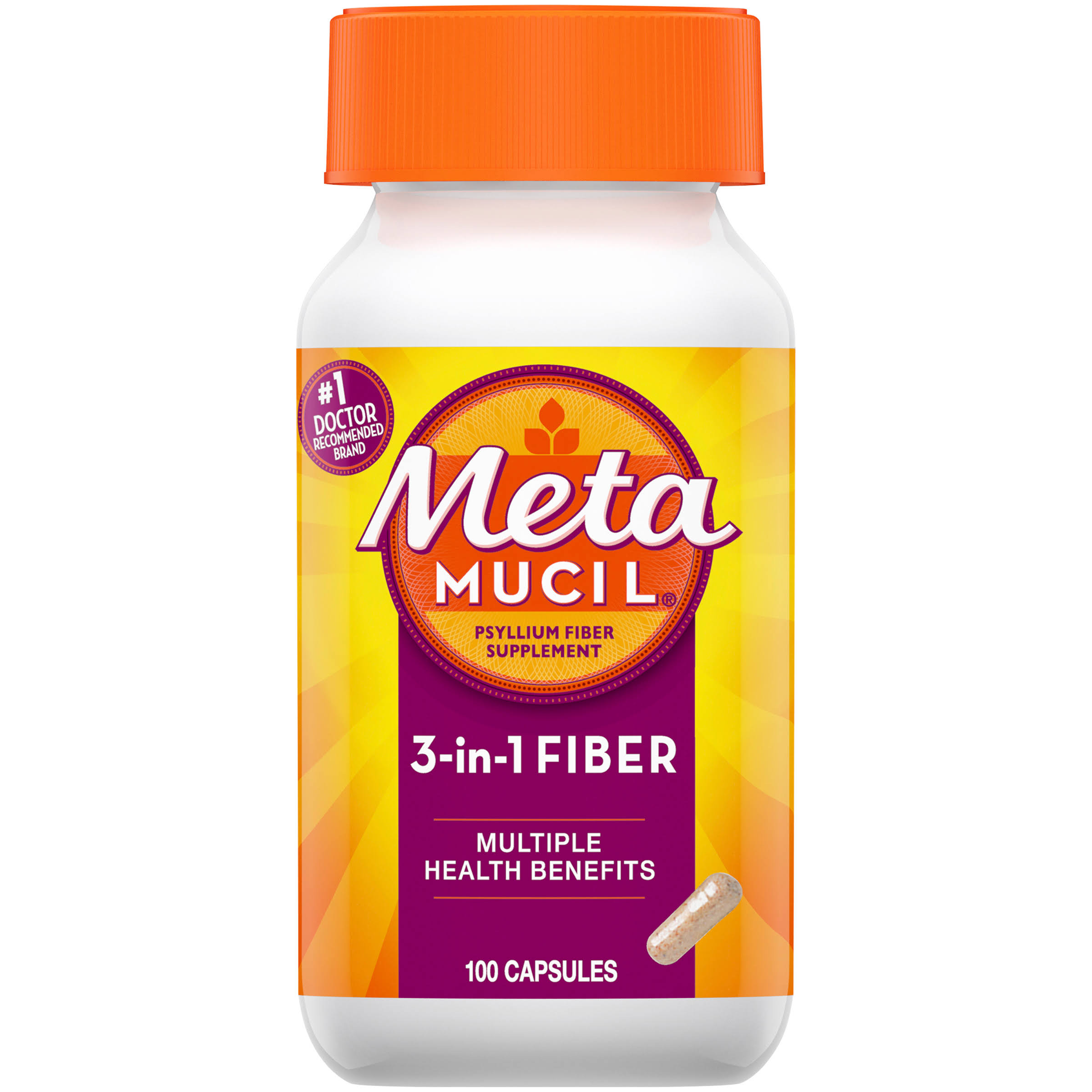 Metamucil 3 in 1 Multi Health Psyllium Fiber Capsules - 100ct