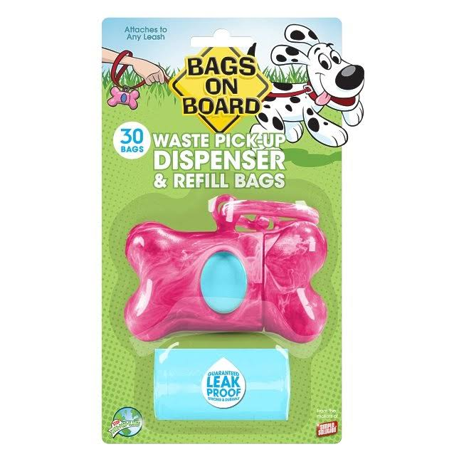 Bags On Board Marble Bone Dispenser - Pink, 30 Bags