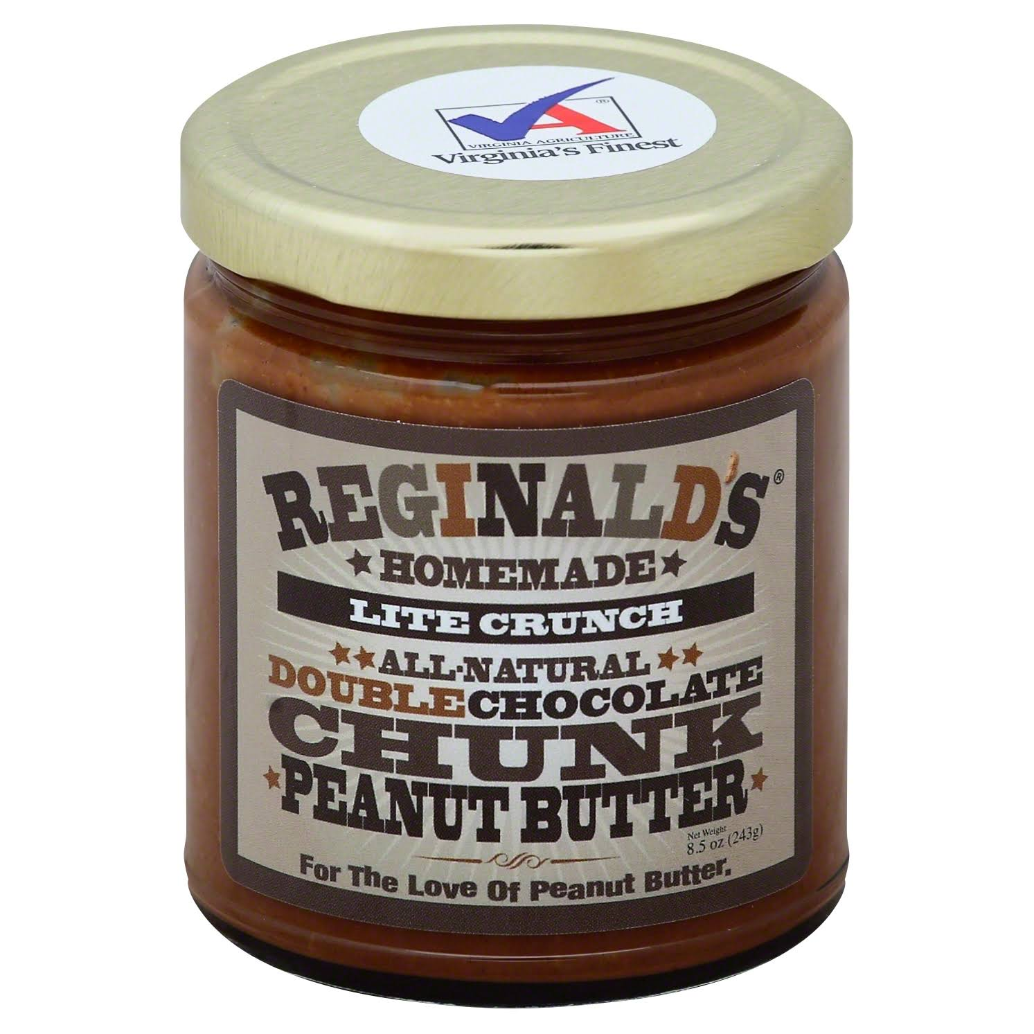 Reginalds Homemade Peanut Butter, Double Chocolate Chunk, Lite Crunch - 8.5 oz