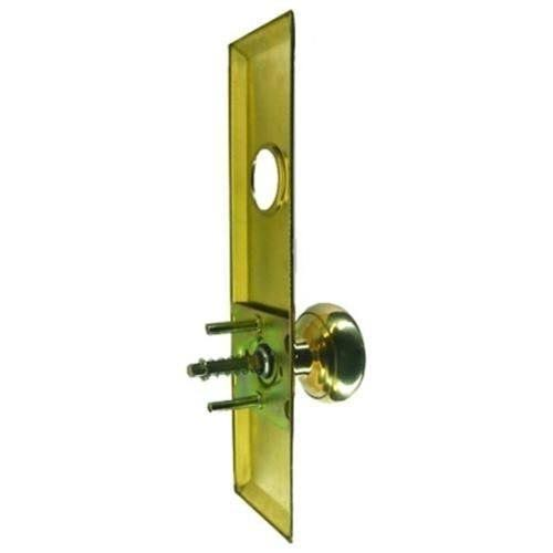 Tuff Stuff Escutcheon Plate with Solid Brass Door Knob and Cylinder Hole - Polished Brass