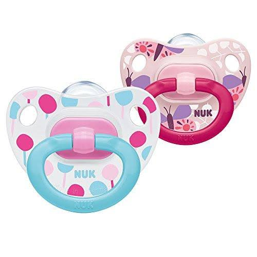 NUK Happy Days Pink Silicone Soothers - Pink, 6-18 Months