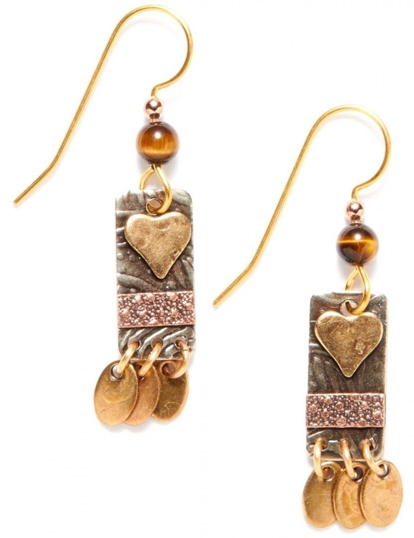 Silver Forest Heart Rectangle Drop Earrings