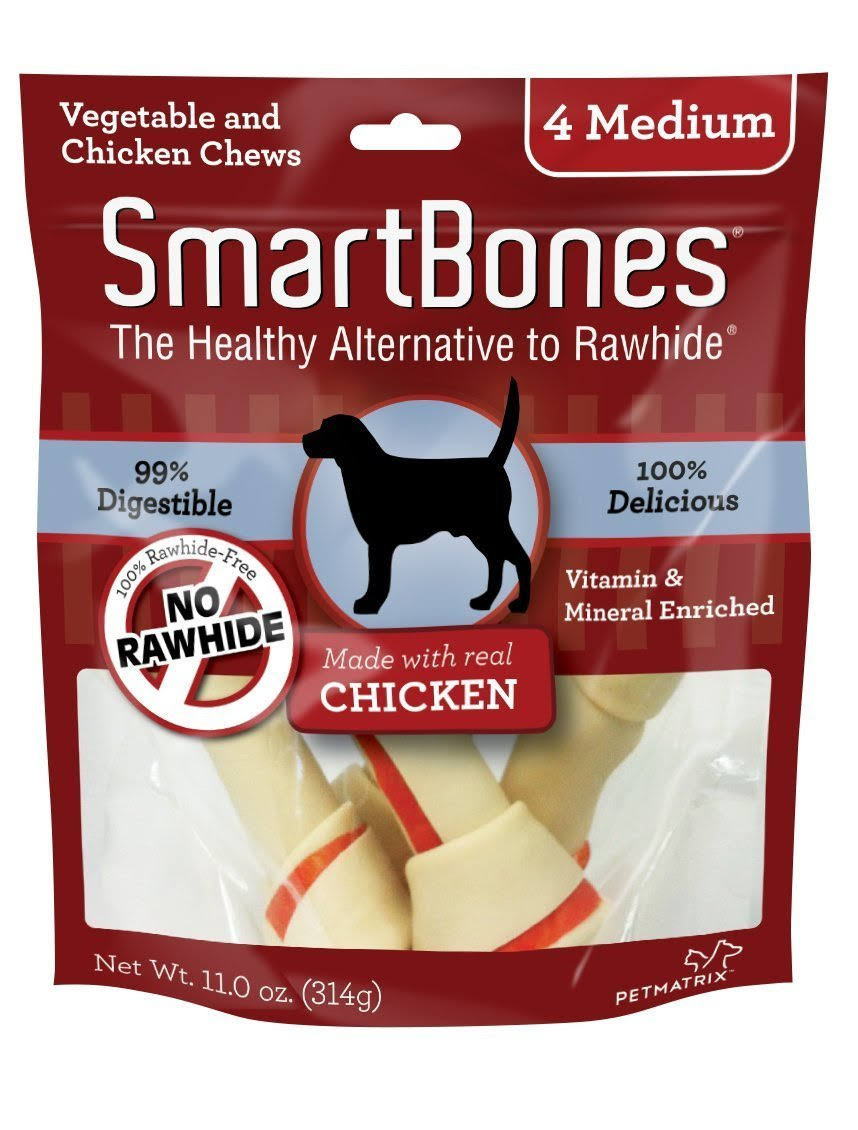 SmartBones Dog Chew - 4 Medium, Chicken