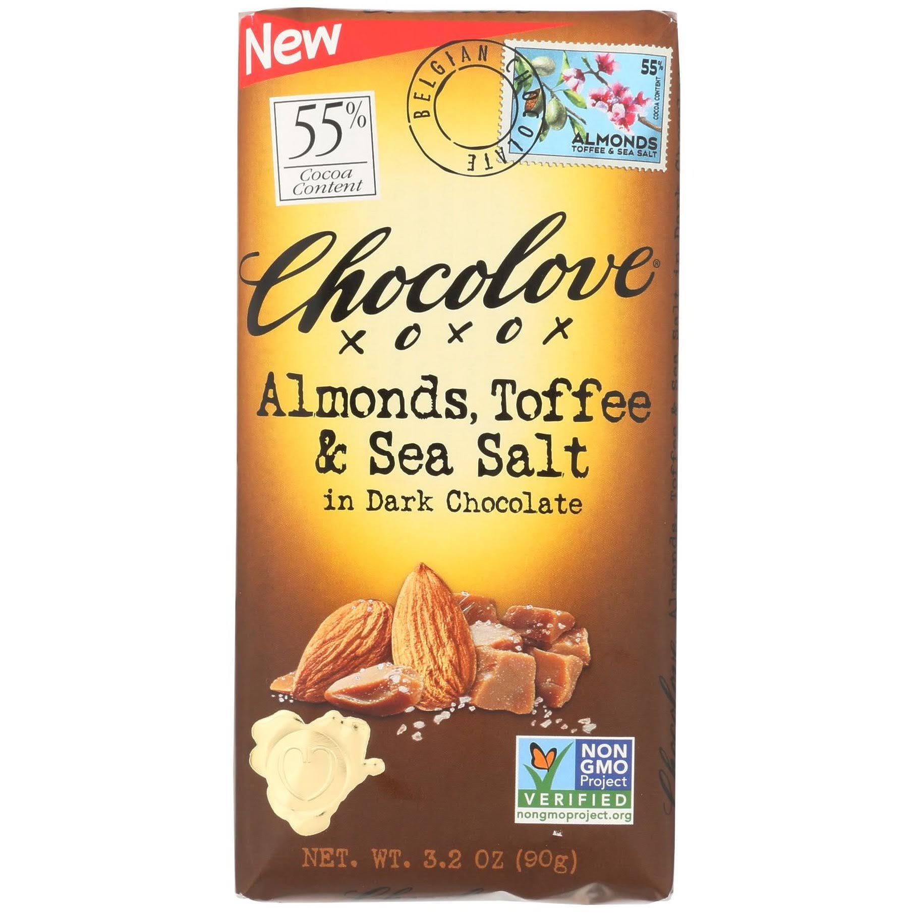 Chocolove Chocolate, Dark, Almonds, Toffee & Sea Salt, 55% Cocoa - 3.2 oz