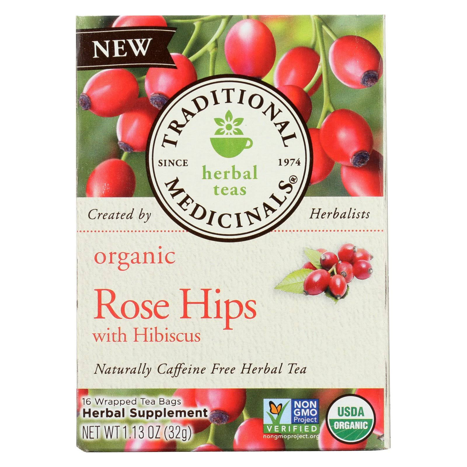 Traditional Medicinals Organic Herbal Tea, Rose Hips with Hibiscus - 16 tea bags, 1.13 oz box