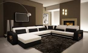 Brown Couch Room Designs by Amazon Com Ultra Modern Cream And Black Leather Sectional Sofa
