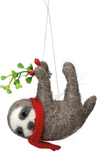 Primitives by Kathy Scarf And Sprig Hanging Felt Sloth Figurine - 4.25""