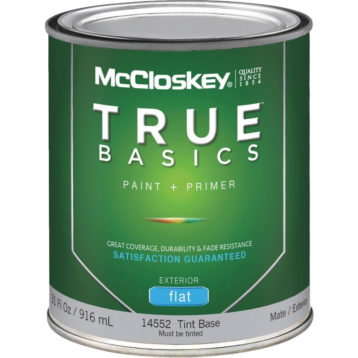 McCloskey True Basics Latex Paint & Primer Flat Exterior House Paint - 916ml