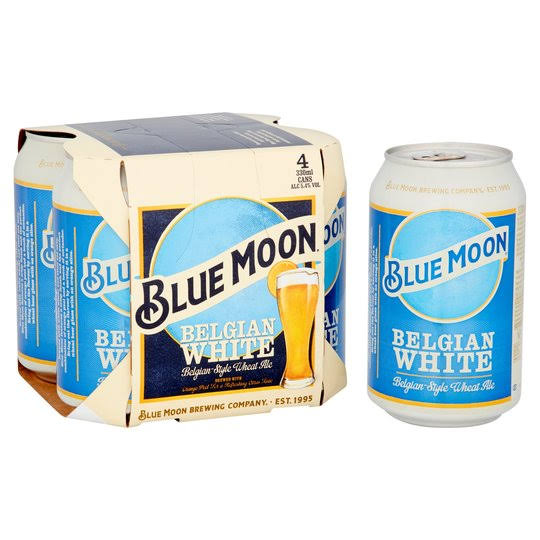 Blue Moon Belgian White American Craft Wheat Beer - 330ml, 4pk