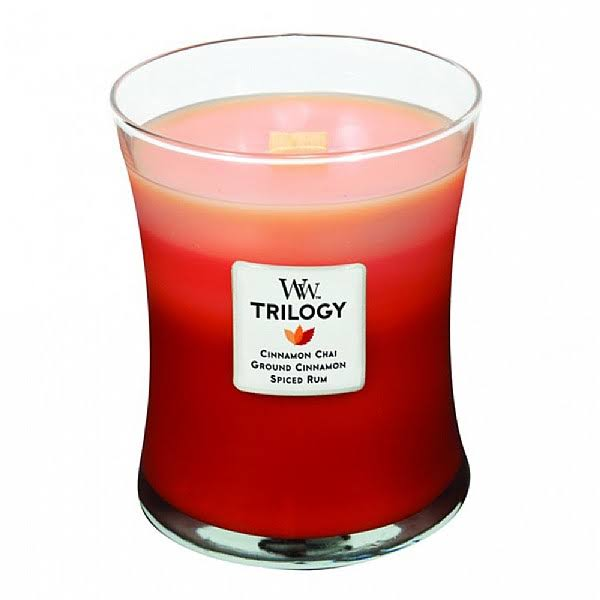 Woodwick Trilogy Jar Candle - Cinnamon Chai Ground Cinnamon Spiced Rum