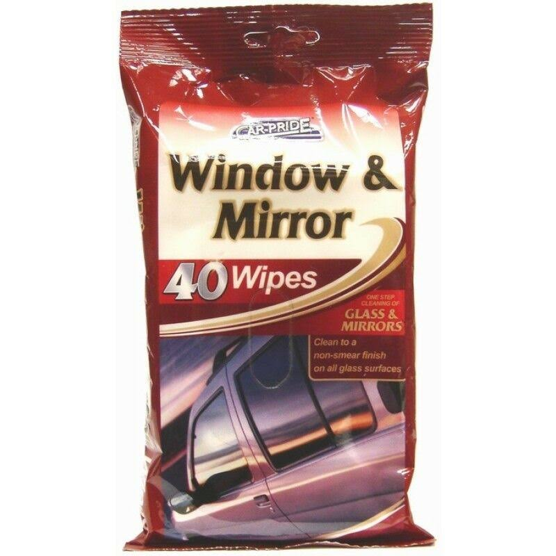 Car-Pride Glass Window and Mirror Car Wipes - Non Smear Finish, 40 Wipes