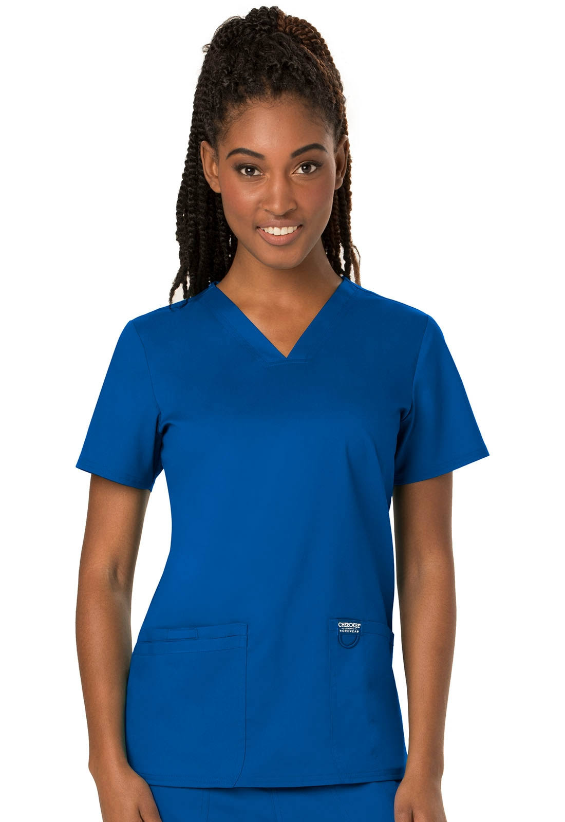 Cherokee Workwear Revolution V-Neck Scrub Top - M - Royal