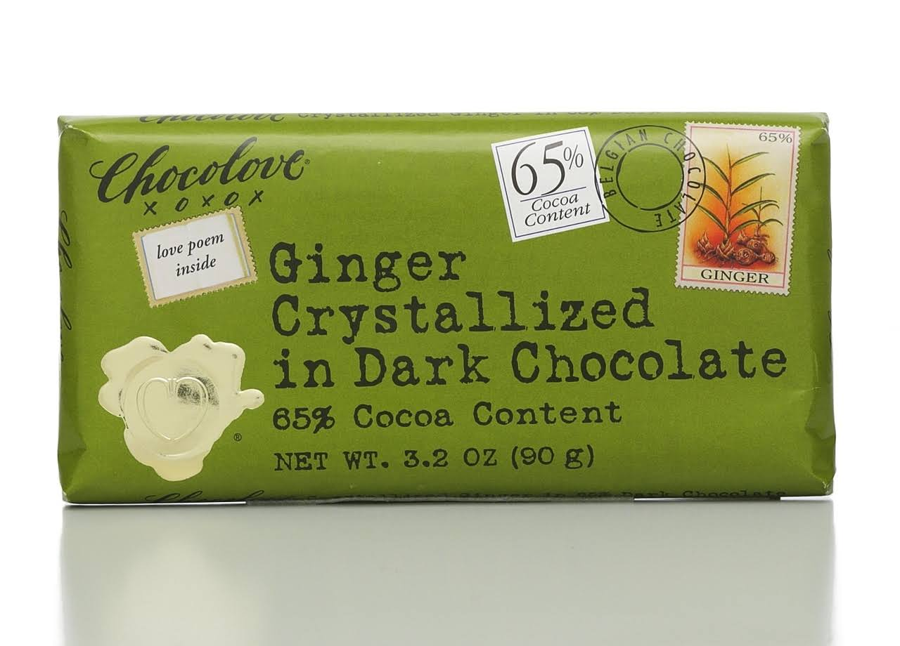 Chocolove Dark Chocolate, Ginger Crystallized - 3.2 oz